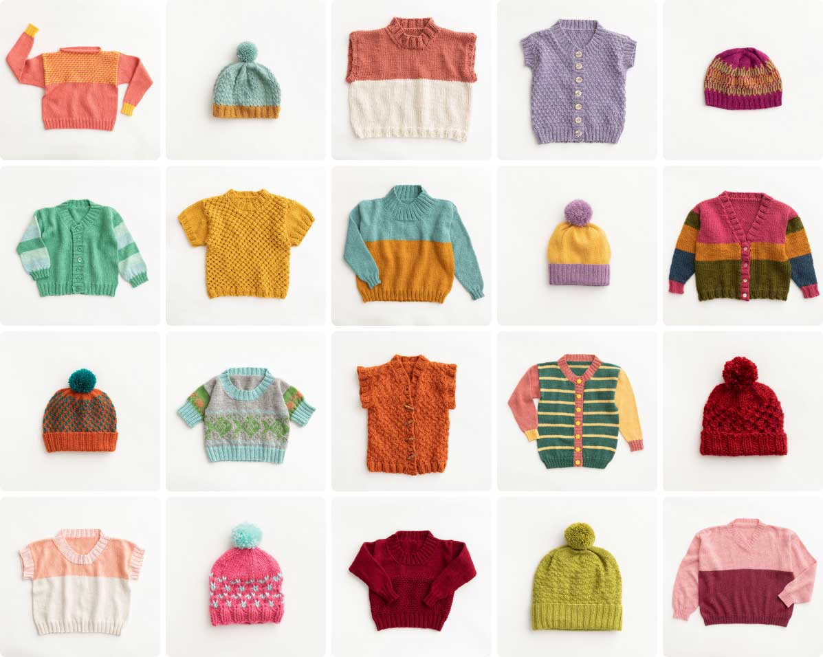 Gallery of colorful Bellish hand knits including sweater, cardigans and beanies layed out on white backgrounds