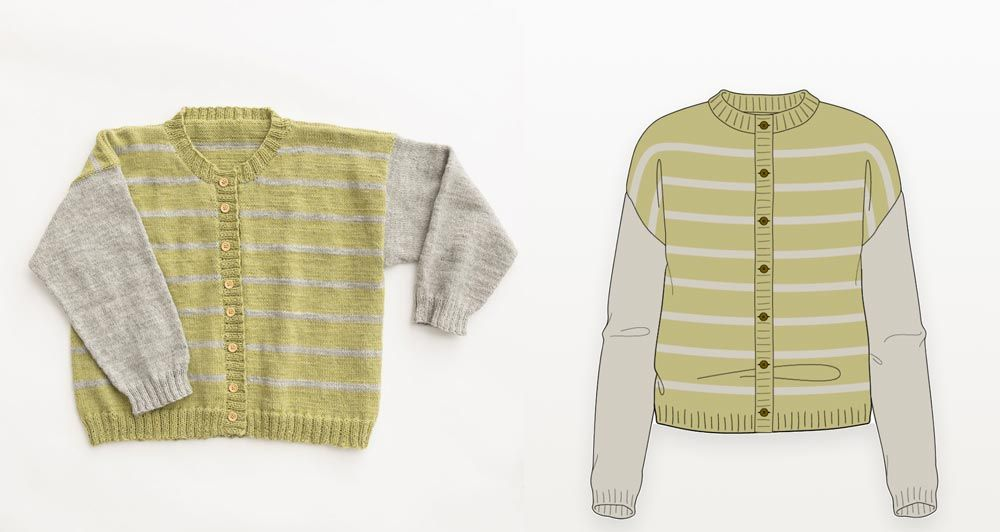 Green & grey striped drop shoulder cardigan photograph with illustration