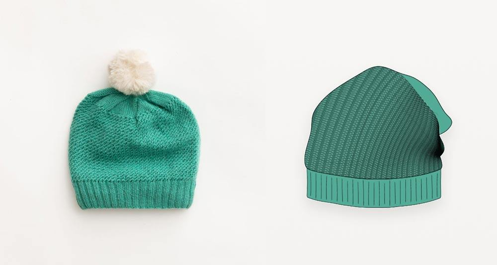 Turquoise purse stitch beanie  photograph with illustration