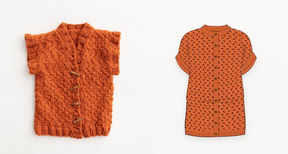 Chunky orange hand knit vest photograph with illustration