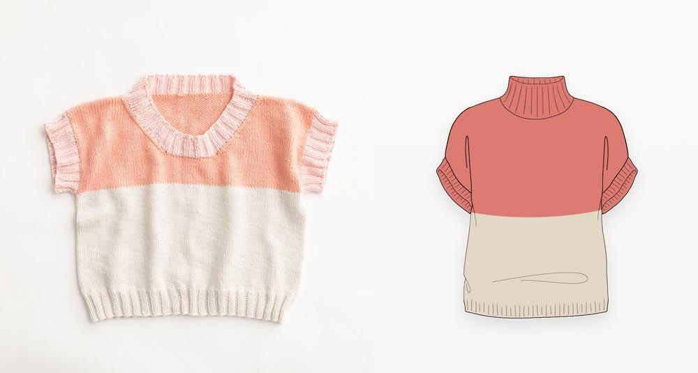 Strawberry wafer drop shoulder hand knit vest  photograph with illustration