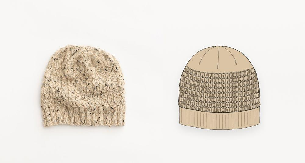 Tweed and twists hand knit beanie in natural undyed wool photograph with illustration