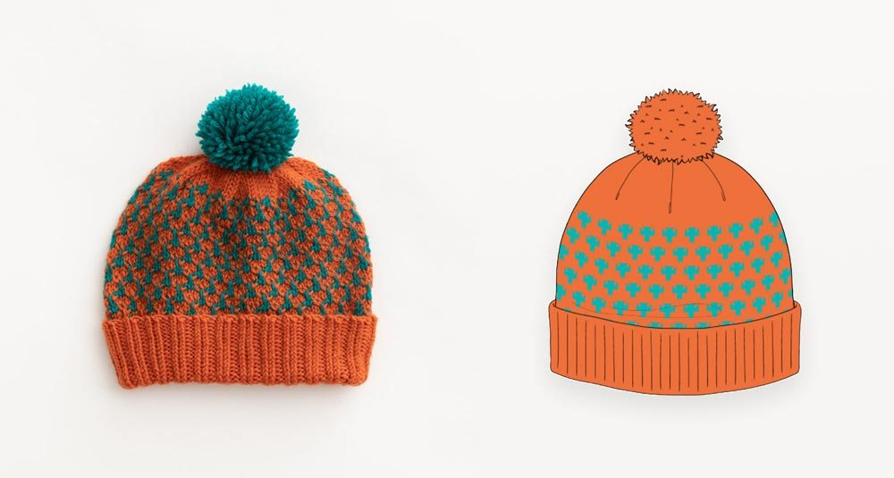 Orange and teal chunky hand knit beanie photograph with illustration