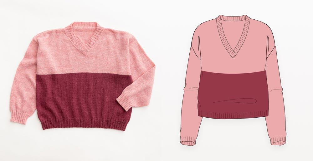 Pink colorblock hand knit drop shoulder sweater photograph with illustration