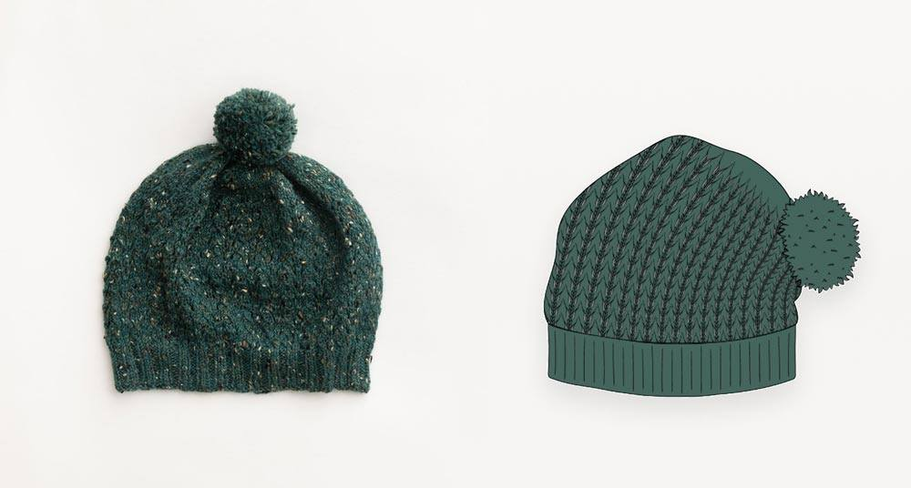 Sea green tweed hand knit beanie  photograph with illustration