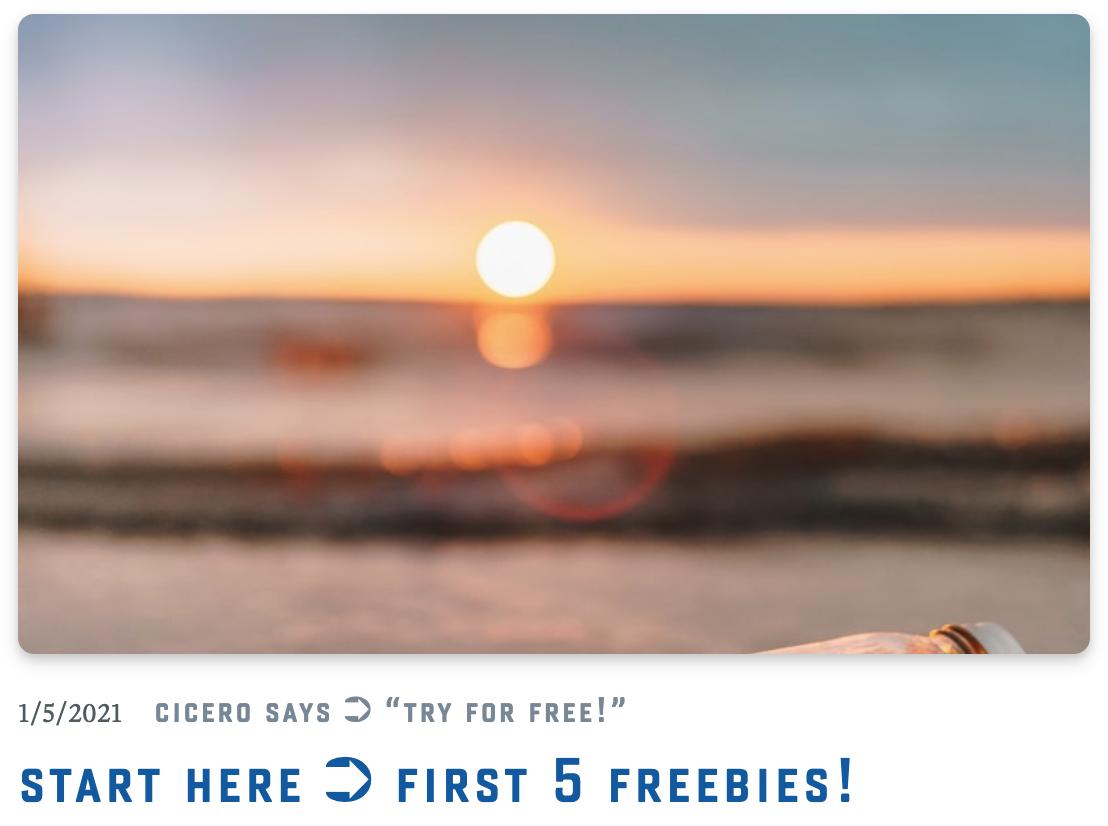 Start Here  ➲ First 5 Freebies