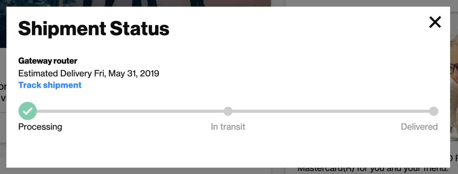 Screen of shipment status. It says processing with an estimated delivery of May 31st. It was mid-June when I checked on it.