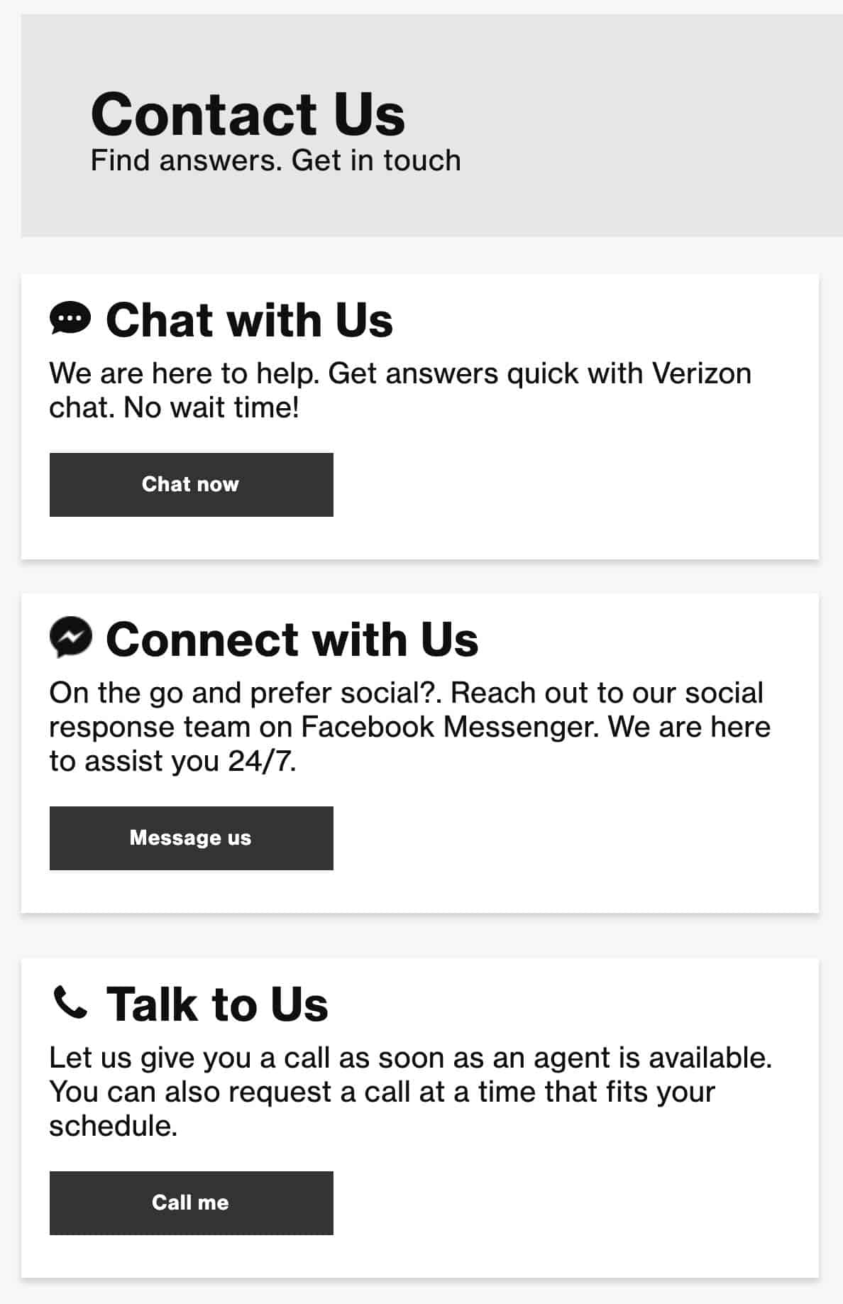 Contact screen with 3 ways to get in touch - Chat, Messanger, and Phone