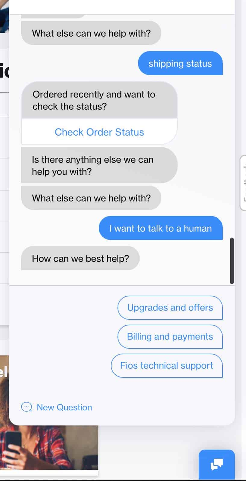 More frustrating conversations with the chat bot. Me asking to talk to a human but it then asking me how it can best help me.