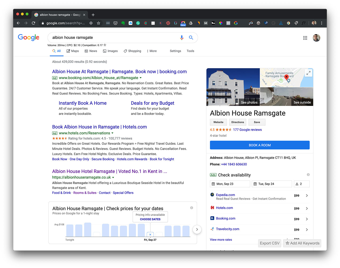 Screenshot of Google search results for Albion House Ramsgate