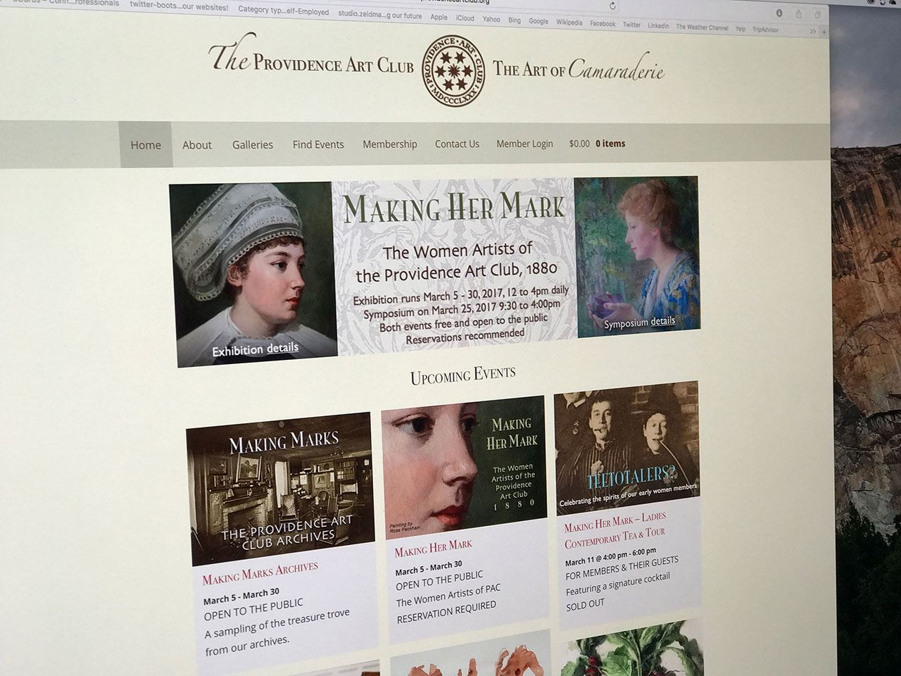 Screen shot of the Providence Art Club home page