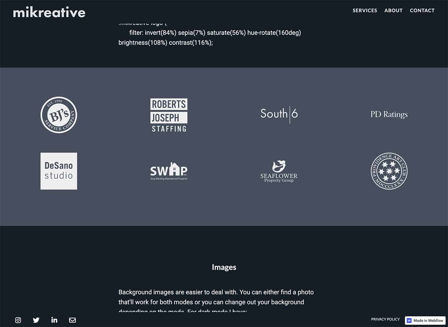 Client logo section of the homepage showing whith logos on a dark blue/grey background.
