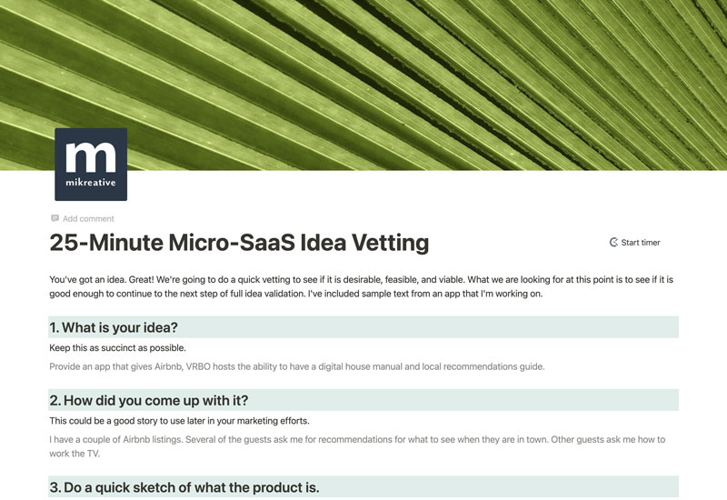 25-minute Micro-SaaS Vetting template on Notion