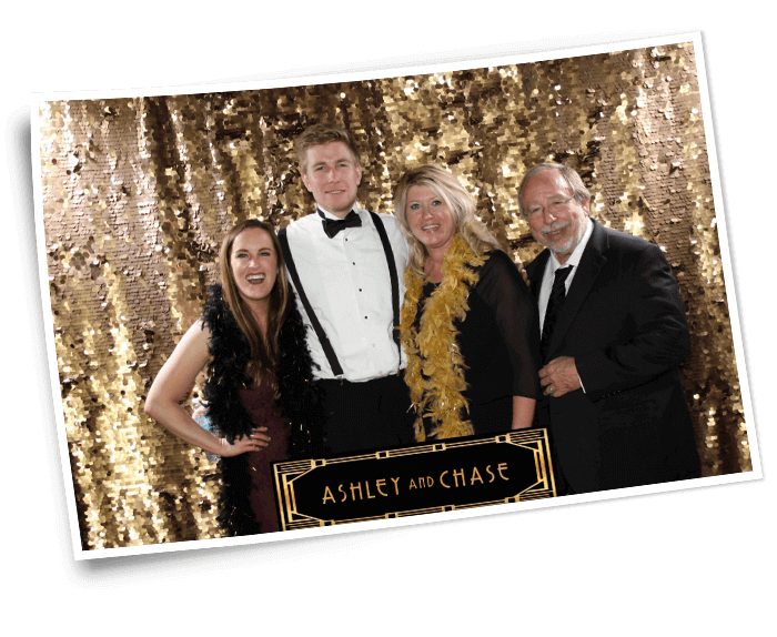 wedding photo booth with sequin backdrop