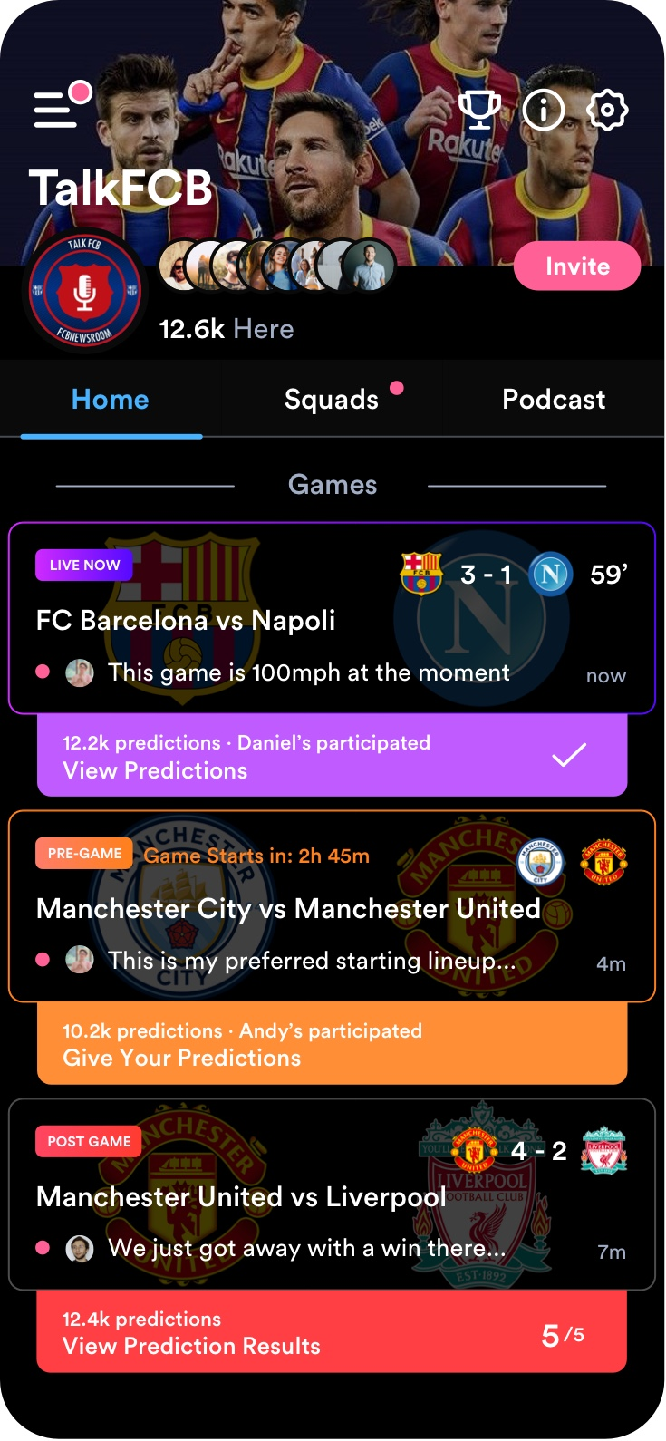 Sports chat app Flick screen shot