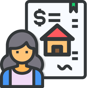 woman with title policy with money sign and house