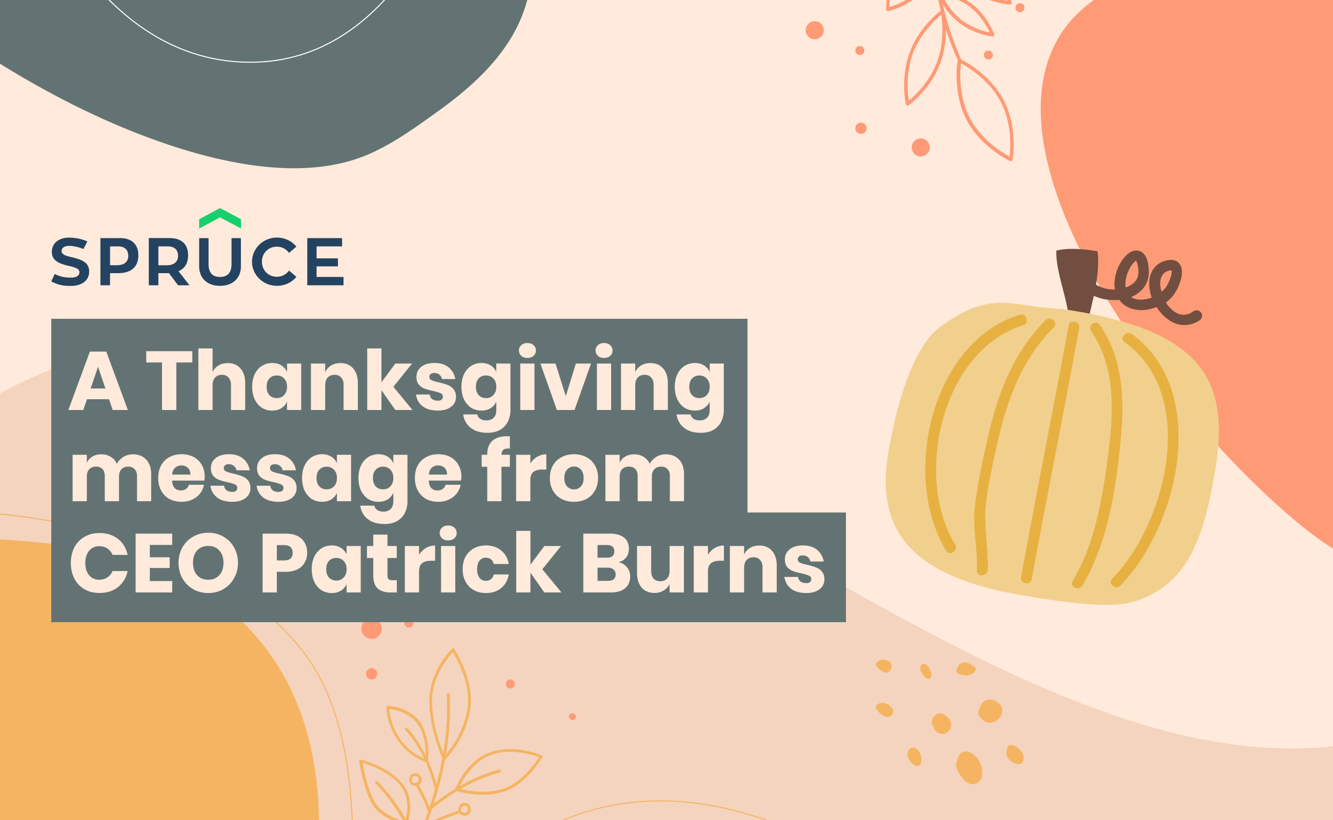 Title slide with pumpkins, fall leaves, and spruce logo