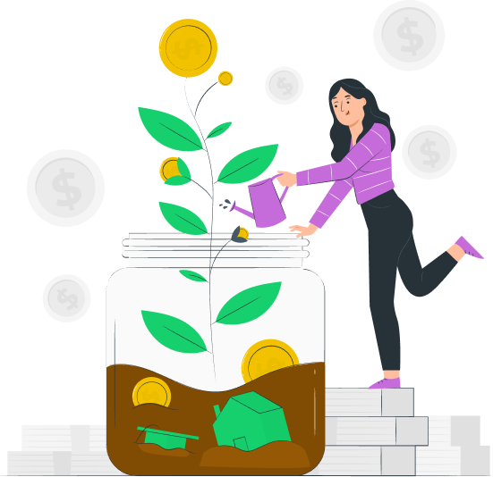 Woman watering plant with house and money icons