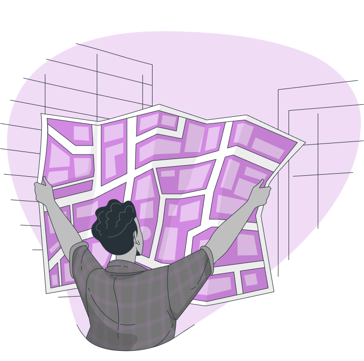 Person holding up land survey map branded in Spruce purple