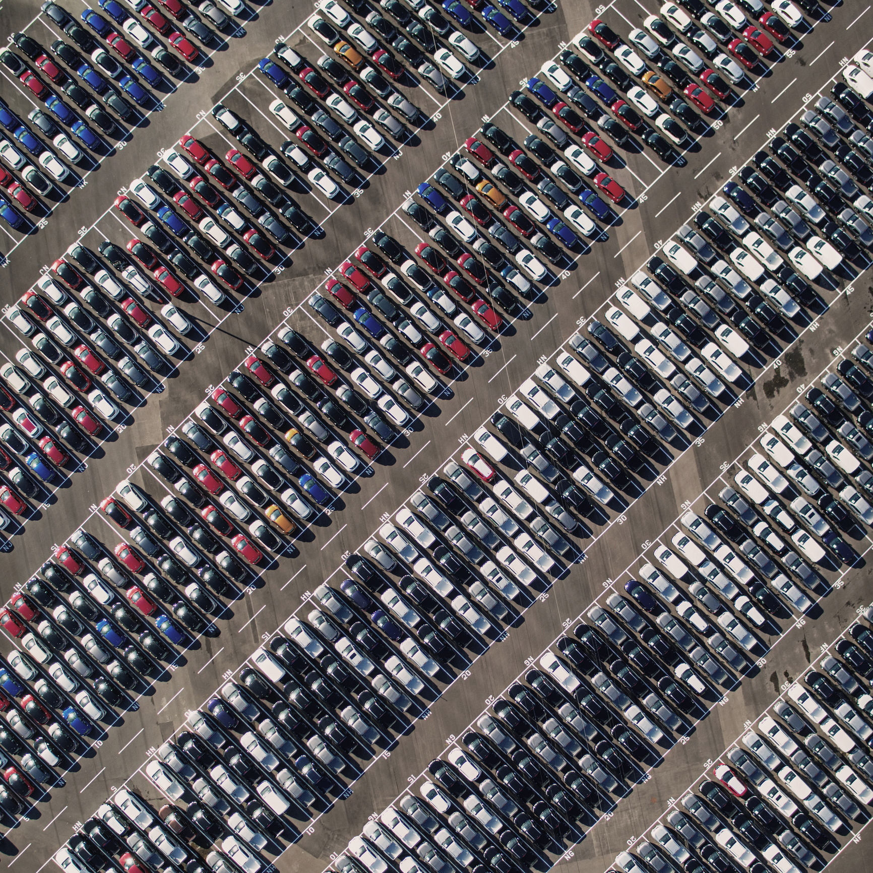 Aerial picture of auction parking lot