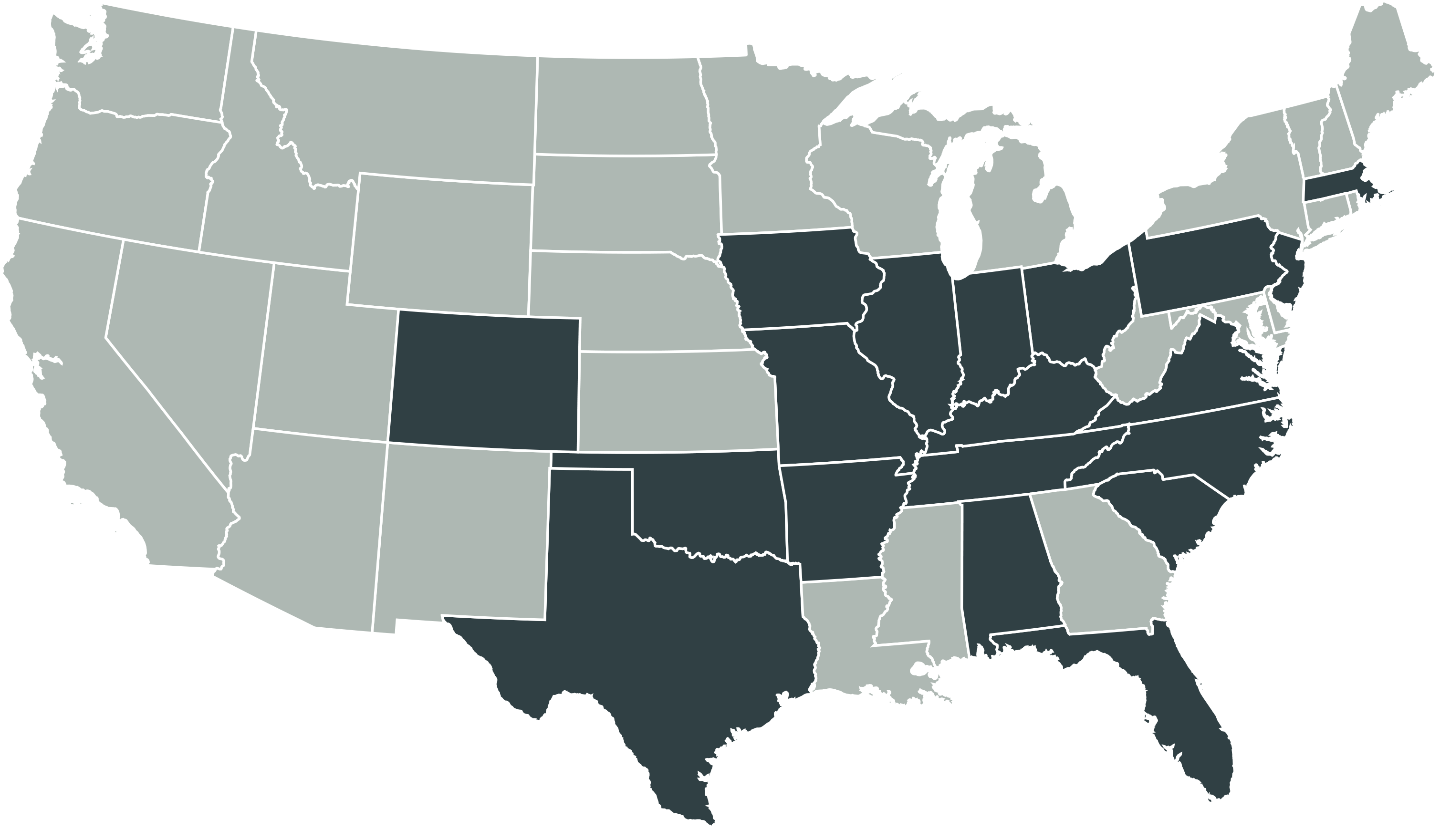 Map of the United States with 18 states highlighted showing CARS recon locations