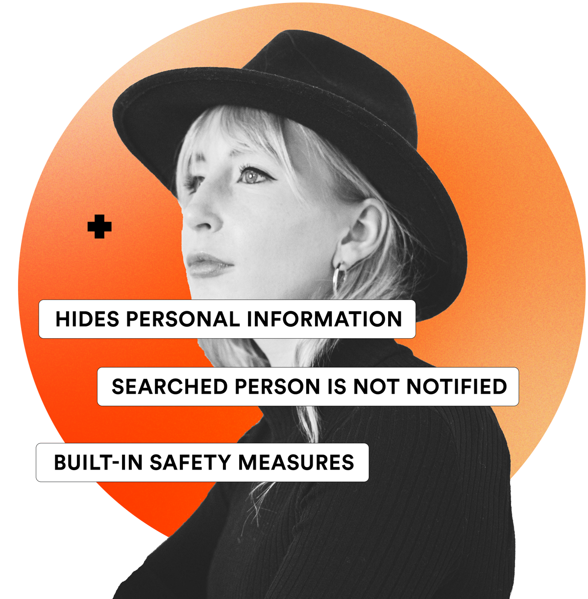 Hides personal information, searched person is not notified and built-in safety measures