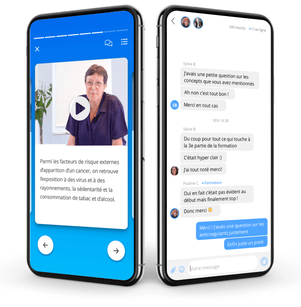 Deux smartphones côte-à-côte montrant l'application de Santé Académie ; le premier affiche un extrait de formation sur le fonctionnement du coeur humain, le deuxième affiche un quiz à compléter