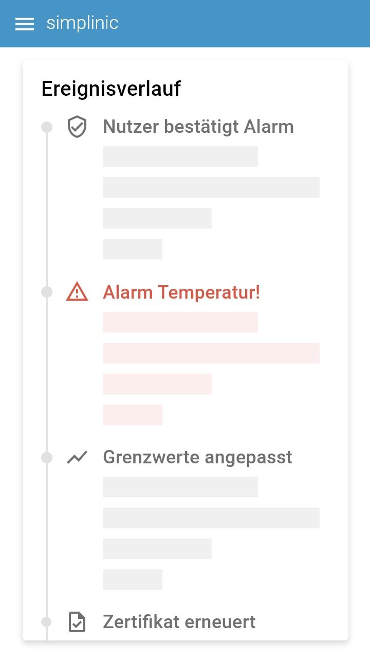 Software Screenshot Statusveränderungen