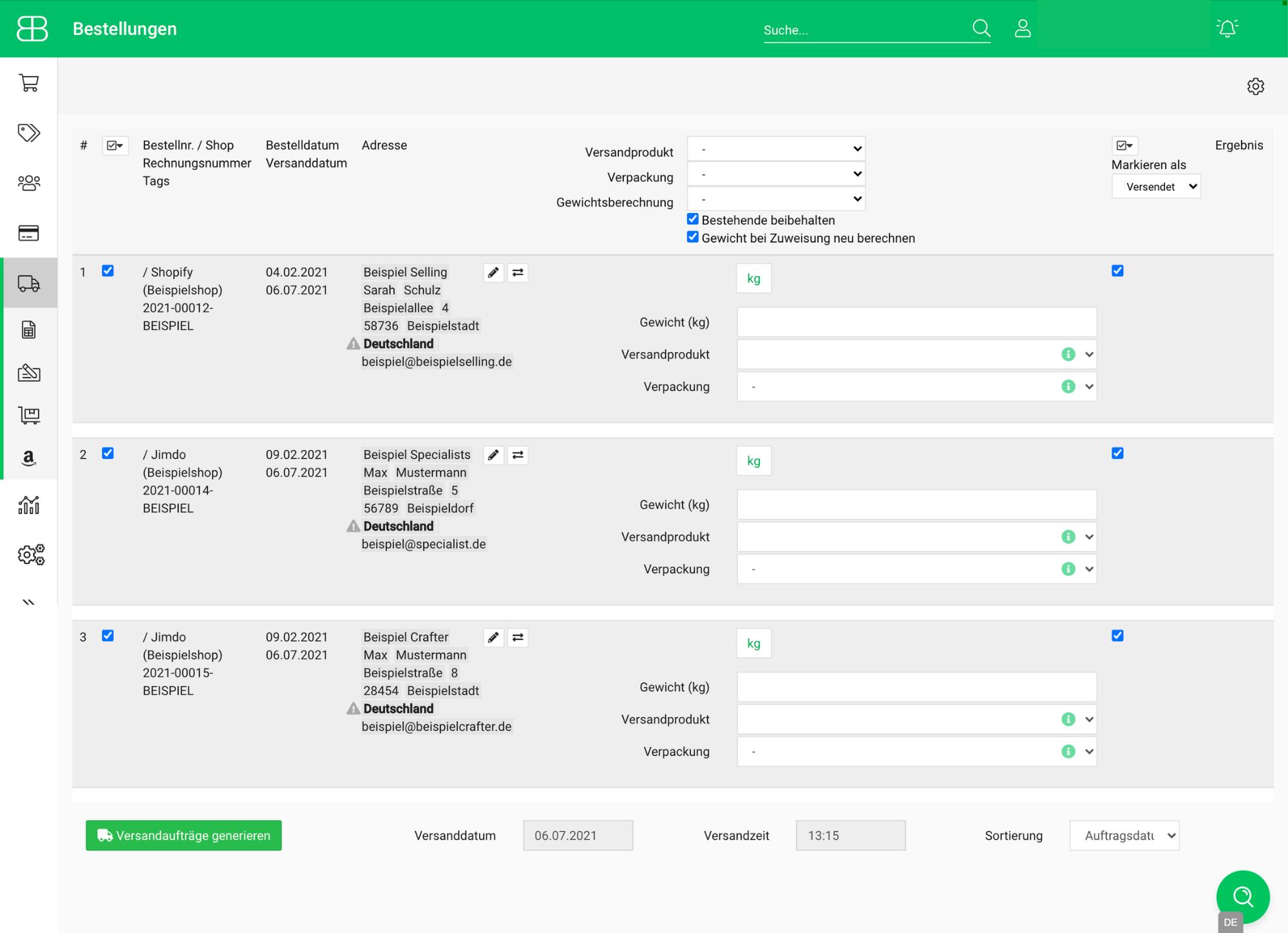 Screenshot Mehrfachversand - mehrere Bestellungen auf einmal versenden