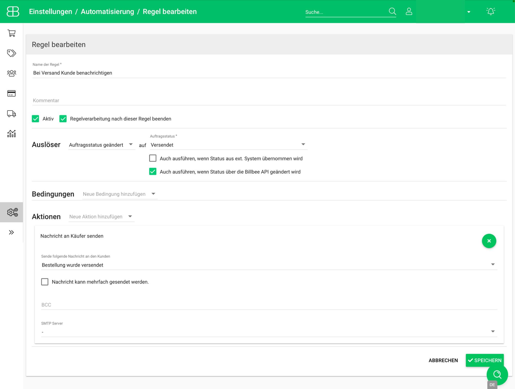 Screenshot Automatisierungsregel zum automatischen Versand von einer Versandbenachrichtigung