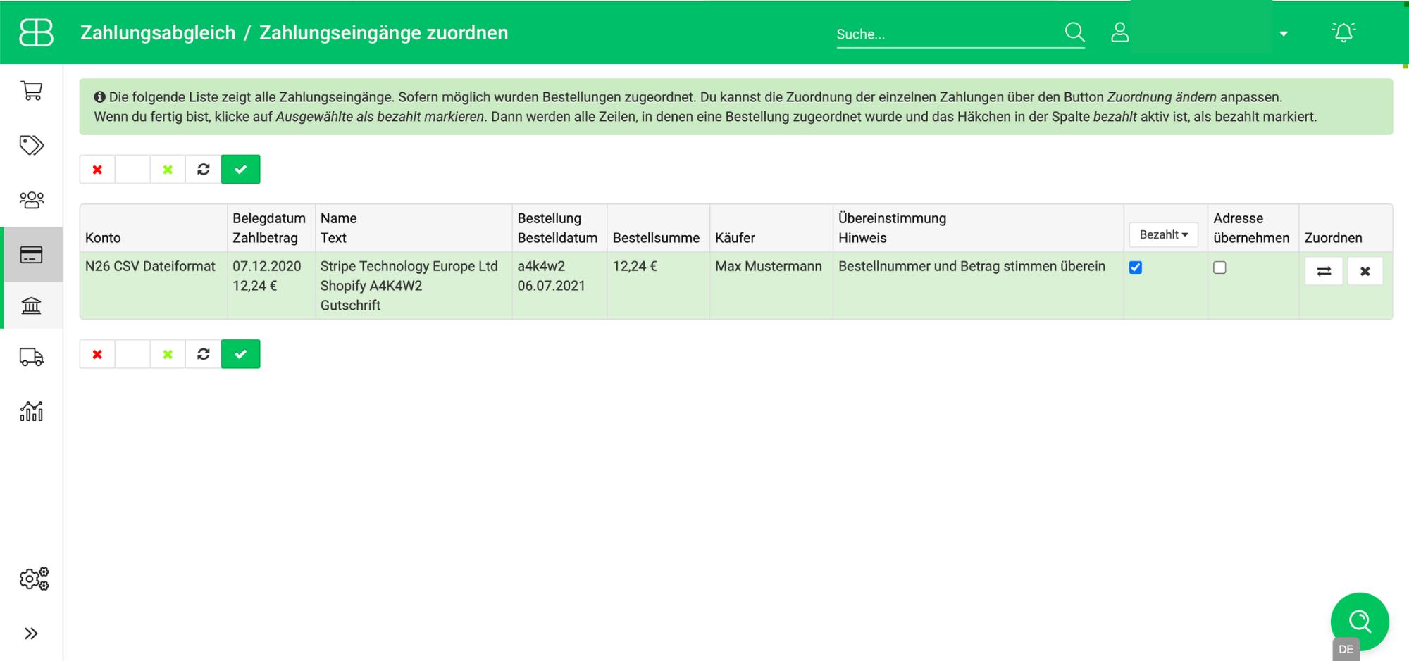 Screenshot aus Billbee zum Zuordnen von Zahlungen