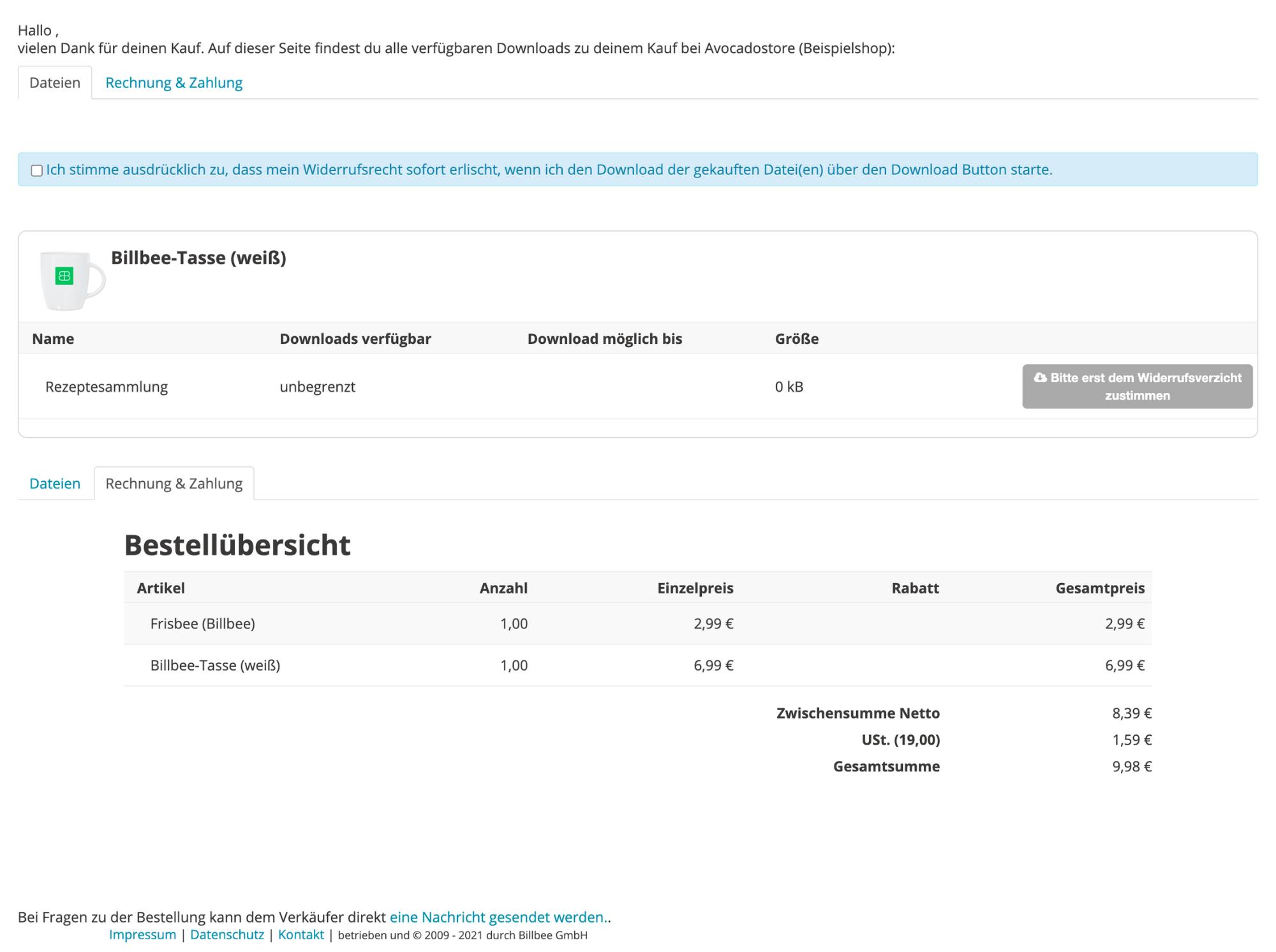 Screenshot auf dem Billbee-Kundenportal