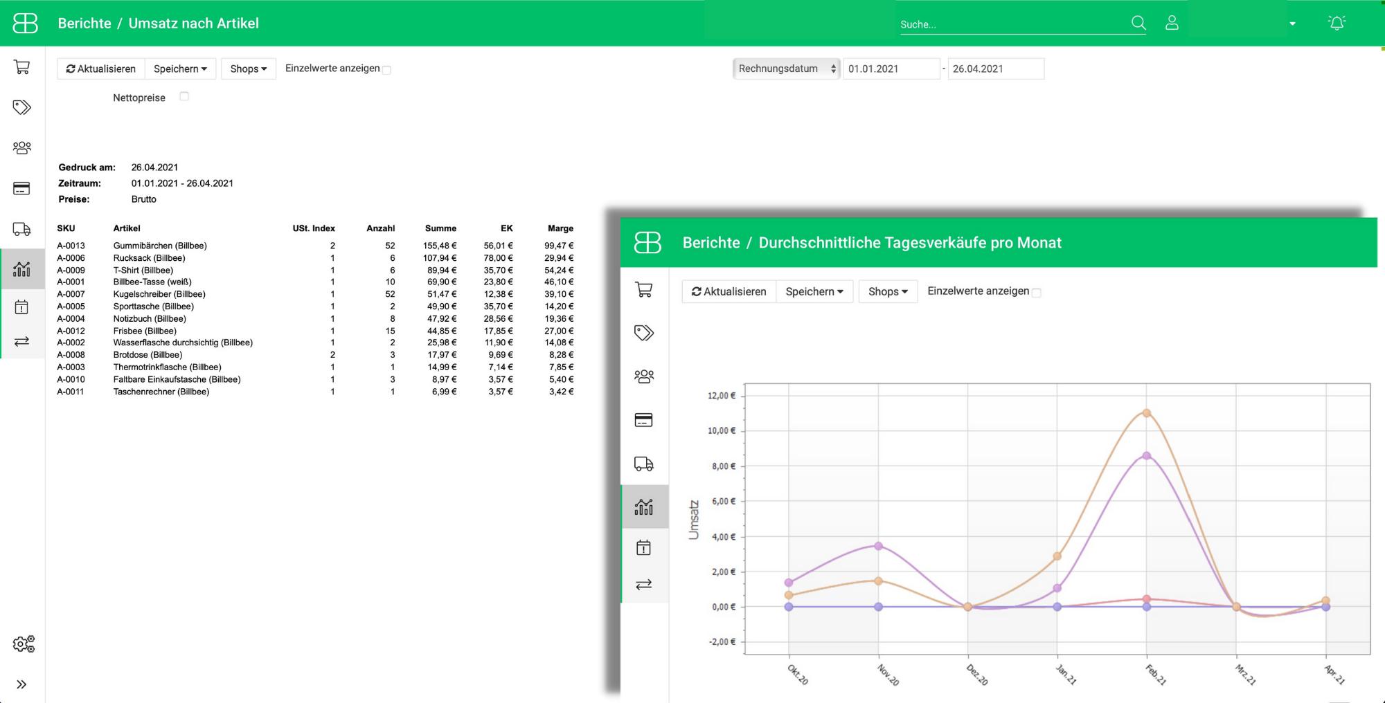 Screenshot aus Billbee Berichte zu Umsätzen und Verkäufen