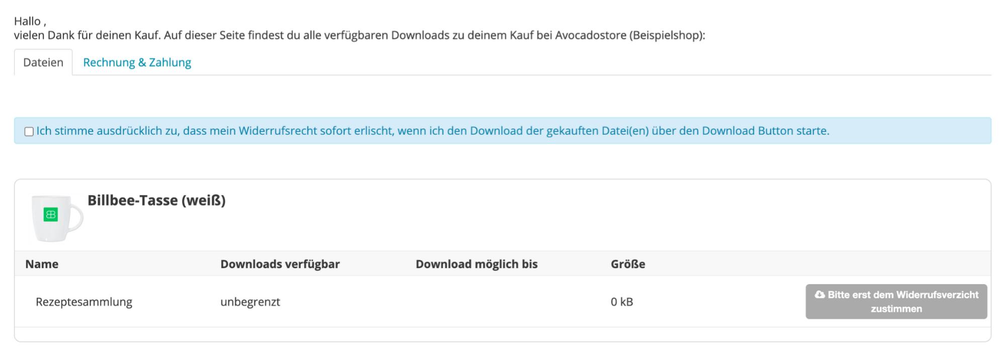 Screenshot aus Billbee vom Kundenportal zum Download von Dateien