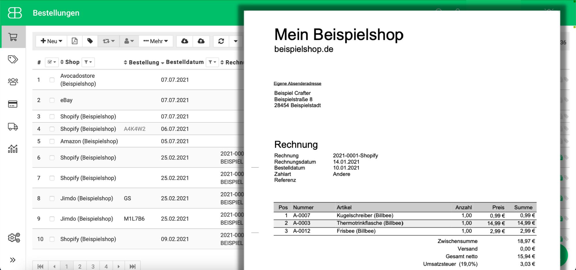 Screenshot aus Billbee von einer erzeugten Rechnung