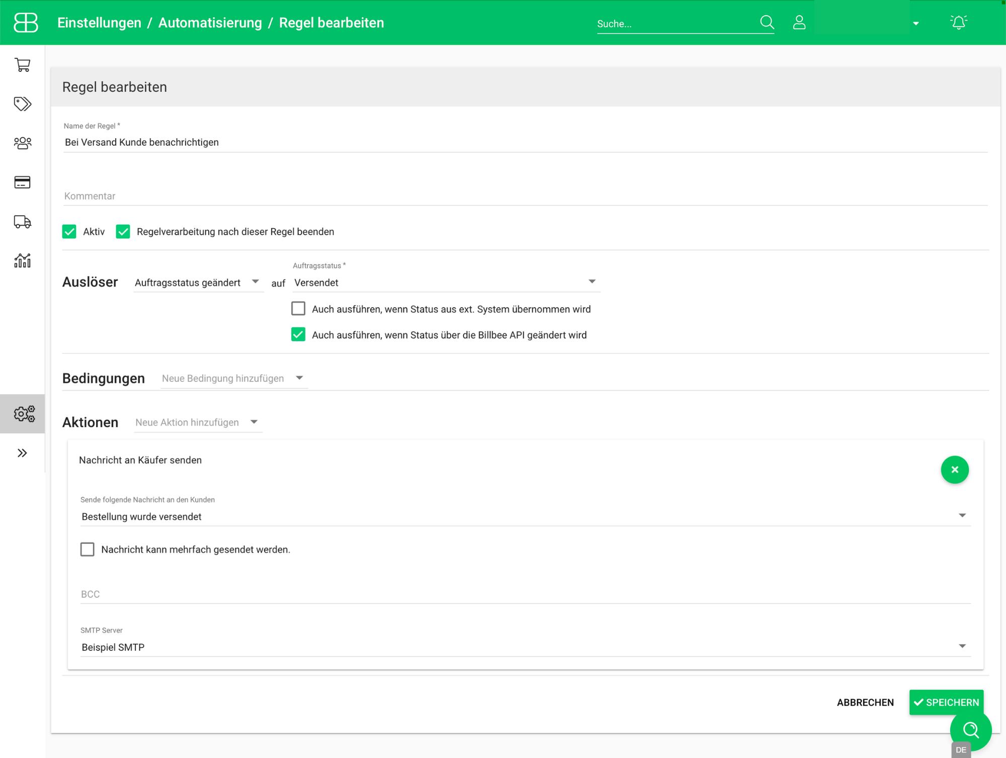 Screenshot aus Billbee von der Automatisierungsregel zum automatischen Versand der Versandbenachrichtigunga