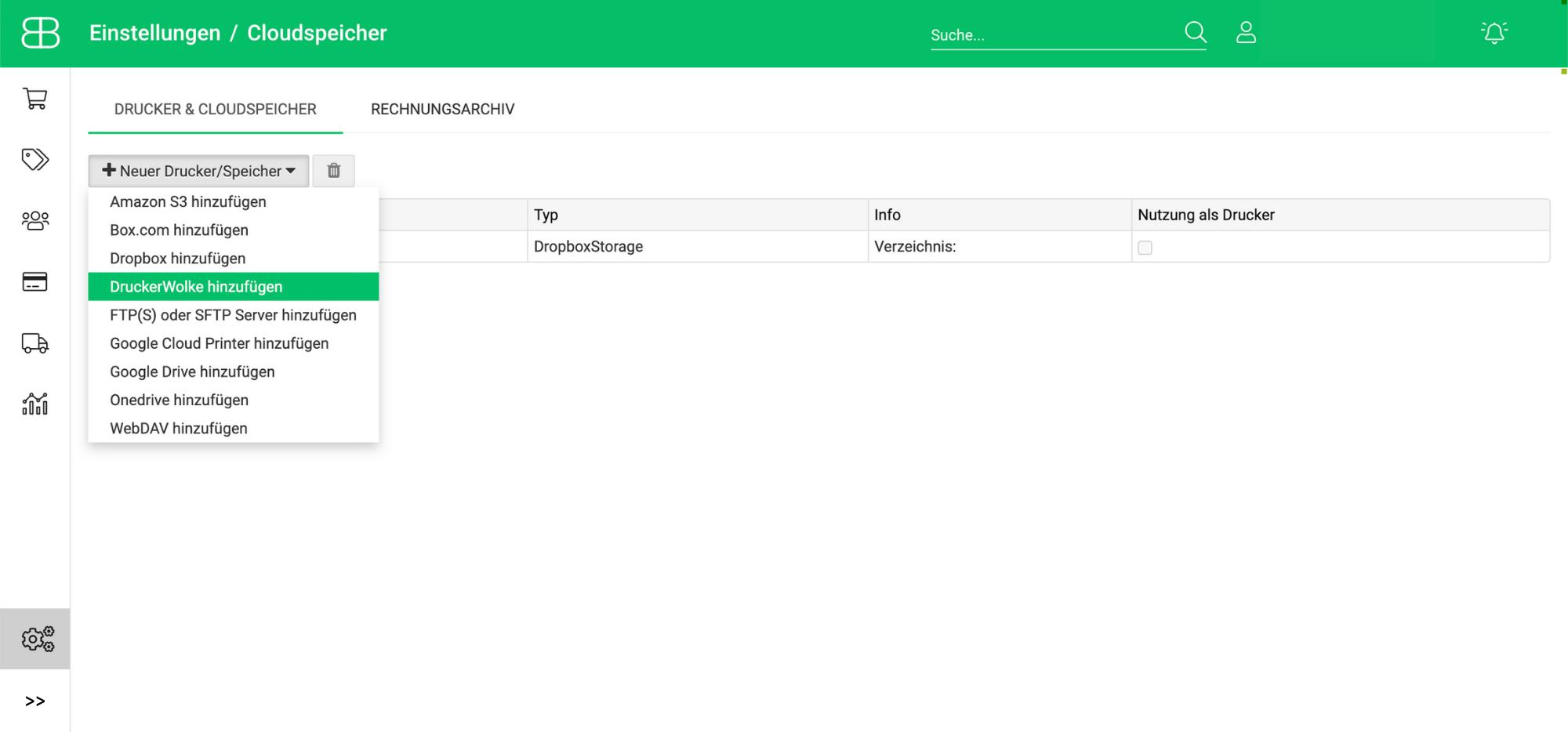 Screenshot aus Billbee zur Anbindung vom Cloudprinting-Dienst Druckerwolke