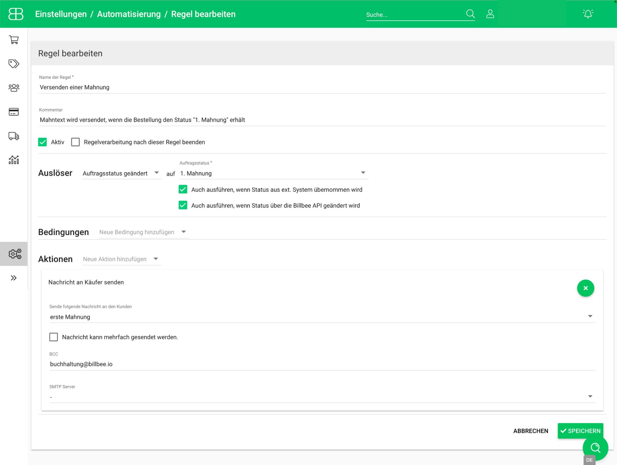 Screenshot aus Billbee für das Versenden einer Mahnung mithilfe einer Automatisierungsregel