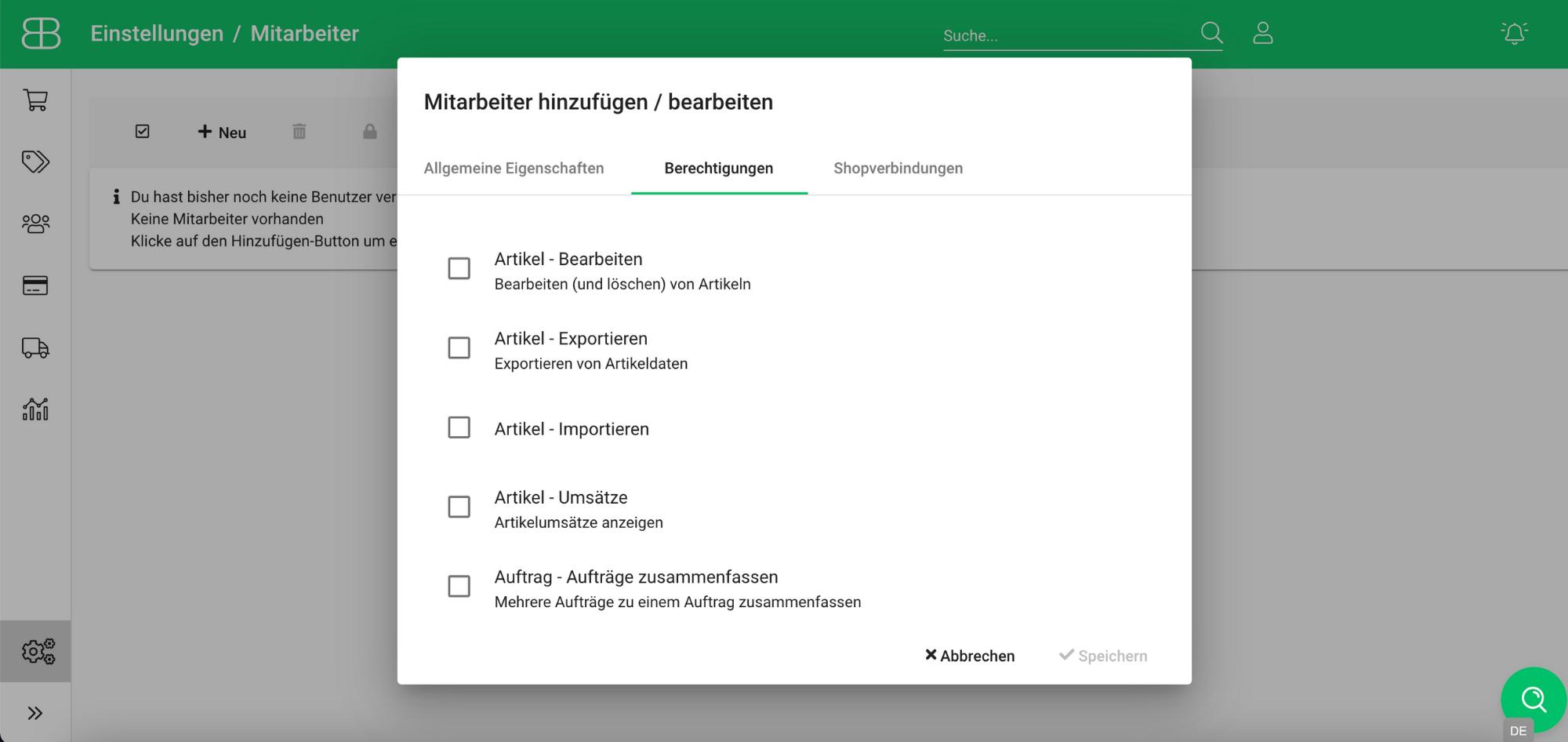 Screenshot aus Billbee zur Verwaltung von Mitarbeiterberechtigungen