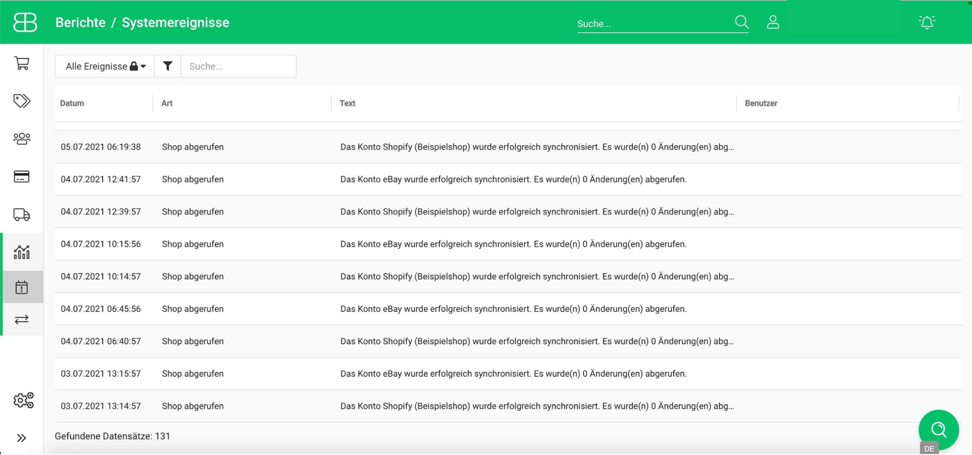 Screenshot aus Billbee von den Systemereignissen