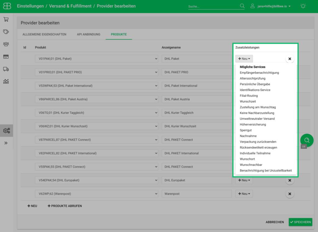 Screenshot aus Billbee vom Hinzufügen der DHL Serviceleistungen