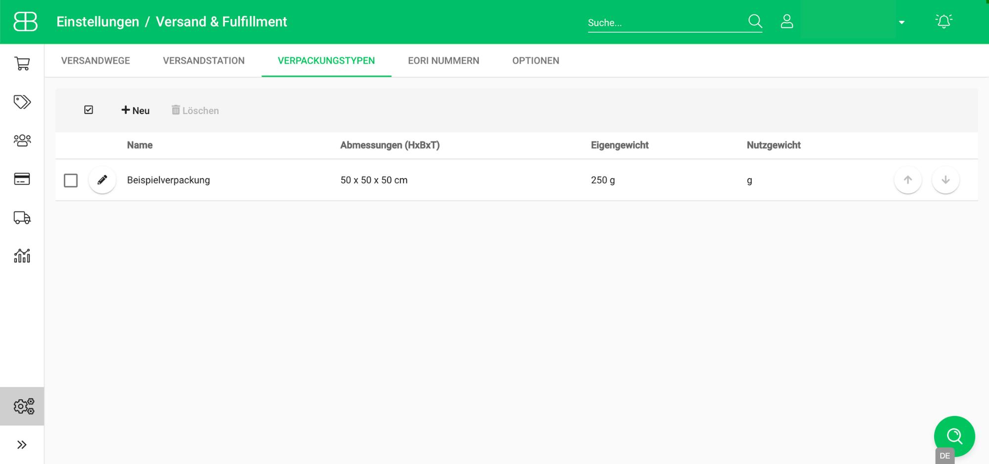 Screenshot aus Billbee zur Verwaltung und Konfiguration von Verpackungstypen
