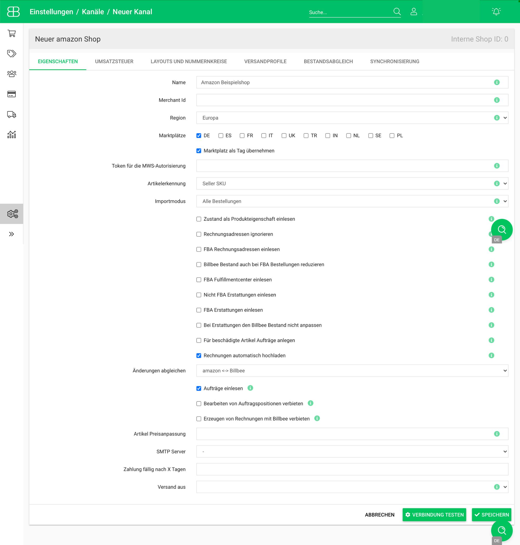 Screenshot aus Billbee zur den Einstellungen aus der Amazon Shopverbindung bei Billbee
