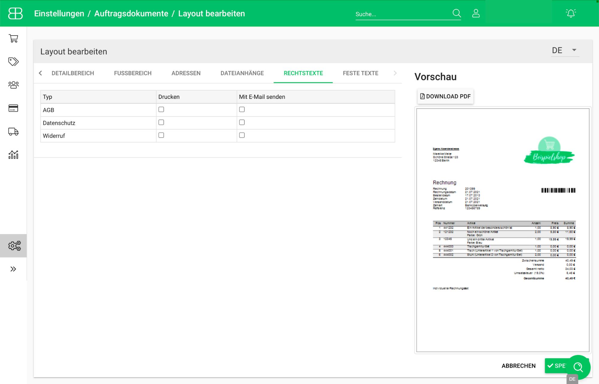Screenshot aus Billbee zum Hinzufügen von Rechtstexten in Layouts