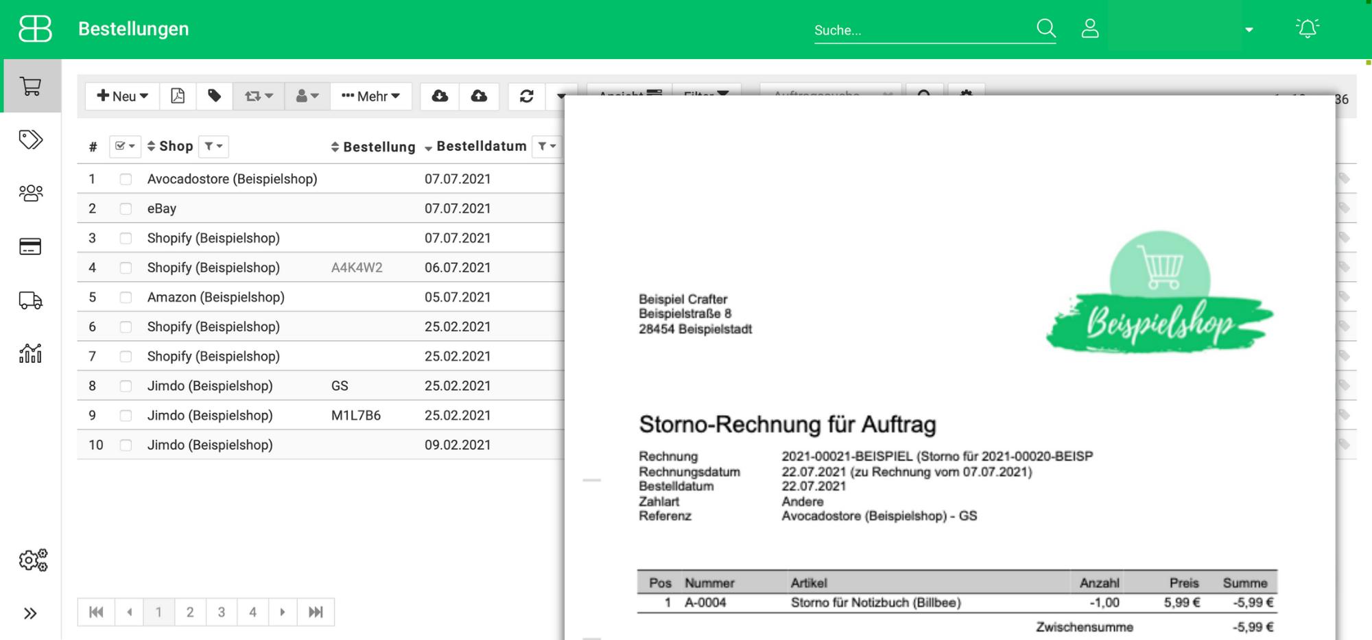 Screenshot aus Billbee von der Bestellübersicht mit einer generierten Stornorechnung