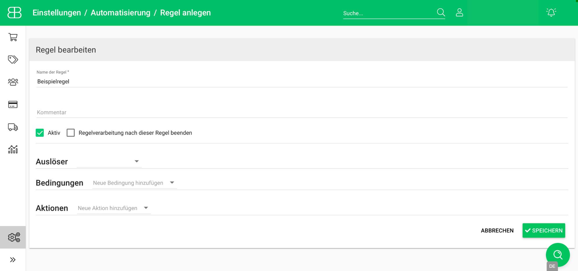 Screenshot aus Billbee zum Aufbau einer Regel