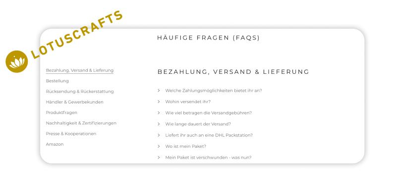 Screenshot aus den FAQs von Lotuscrafts