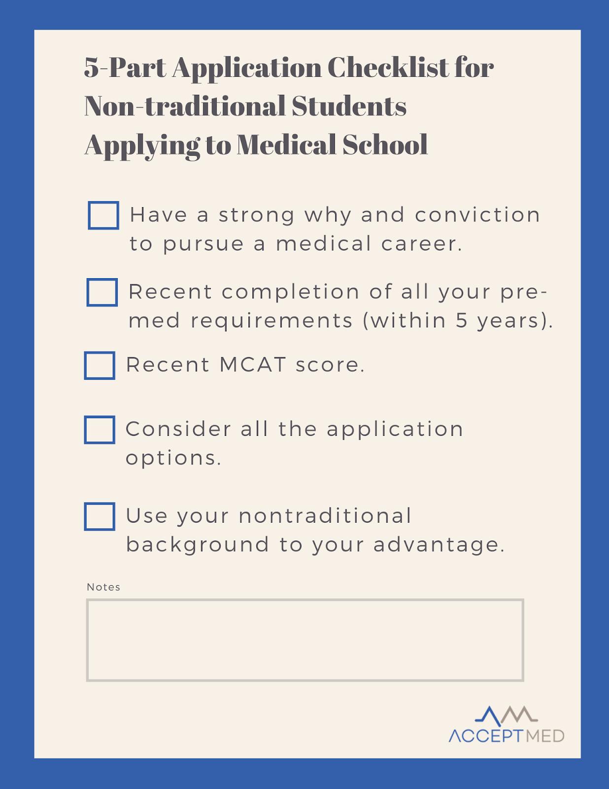 non-traditional medical school application tips