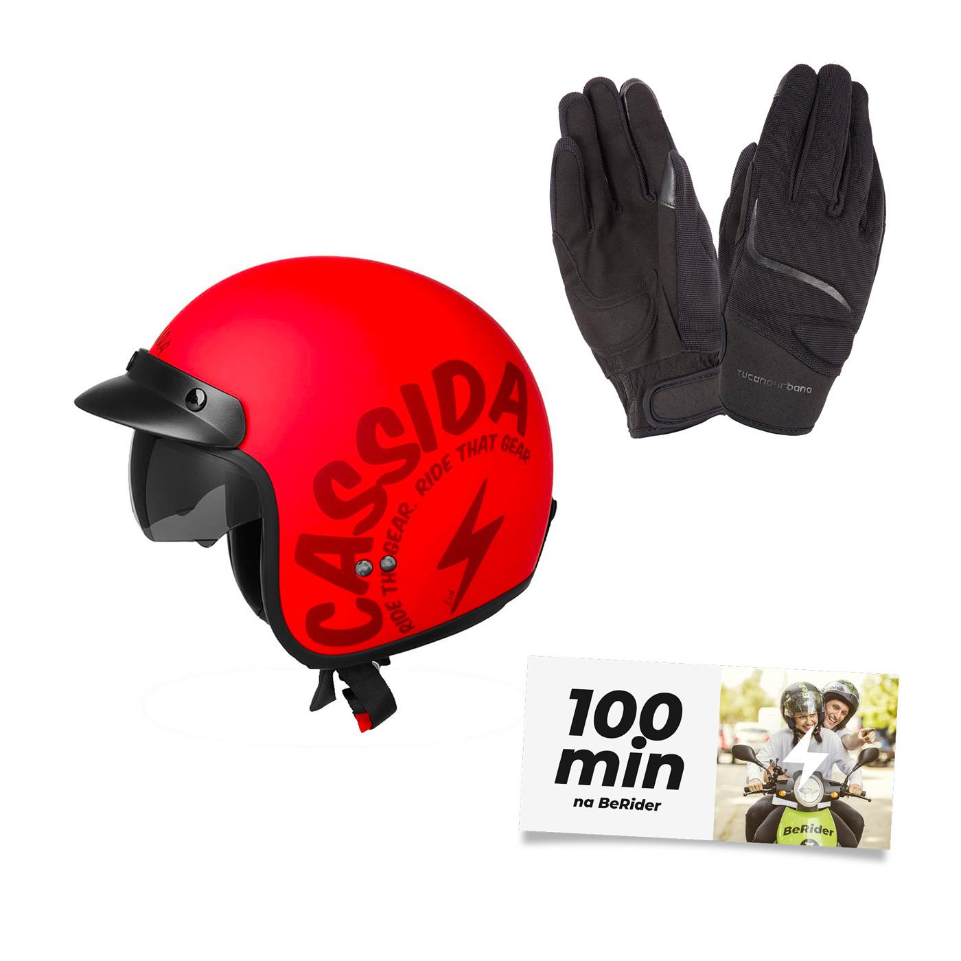 Helma Cassida Oxygen Gear, červená matná + rukavice MIKY + 100 minut na BeRideru ZDARMA