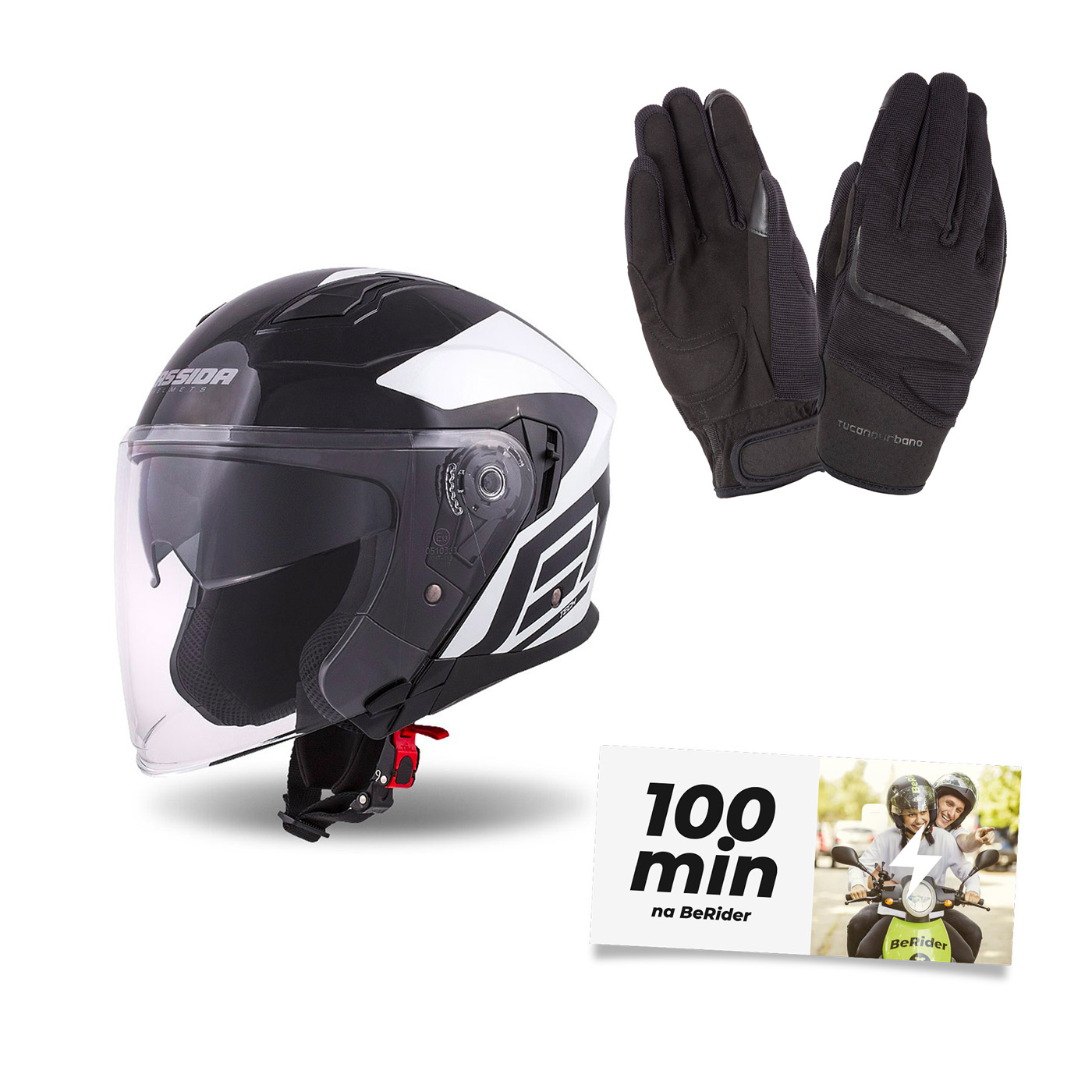 Helma Cassida Jet Tech Corso, černá/bílá + rukavice MIKY + 100 minut na BeRider ZDARMA